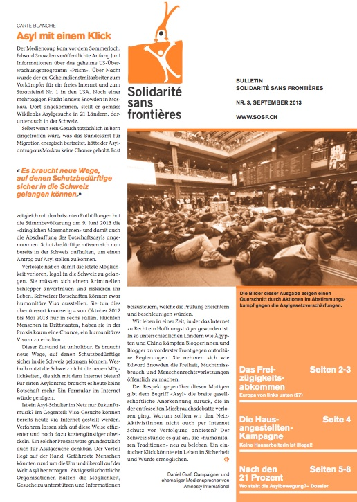 Solidarité sans frontières,  Bulletin September 2013