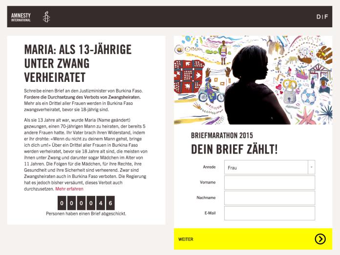 Amnesty International: Briefmarathon 2